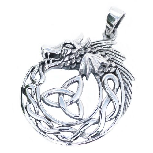 Celtic Dragon with Triquetra Trinity Knot Silver Pendant (P044)